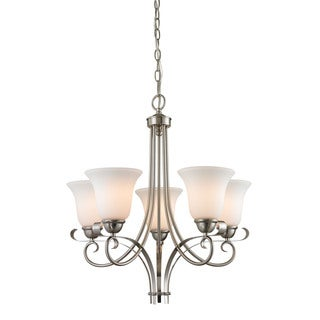 Cornerstone Brighton 5 Light Chandelier In Brushed Nickel