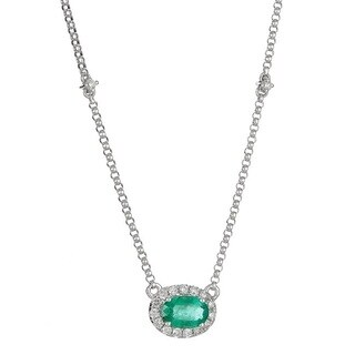 Anika and August 14k White Gold Oval-cut Emerald and Diamond Accent Necklace