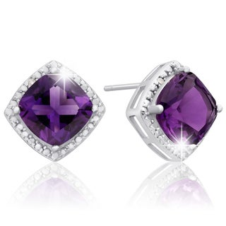 Sterling Silver 3 3/4 TGW Cushion-cut Amethyst Diamond Accent Earrings