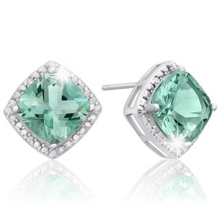 Sterling Silver 3 3/4ct Cushion-cut Green Amethyst Diamond Accent Earrings