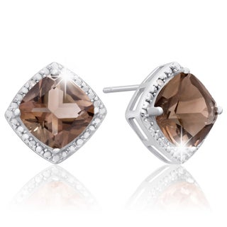 Sterling Silver 3 3/4 TGW Cushion-cut Smoky Quartz Diamond Accent Earrings