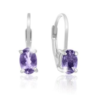 Sterling Silver 3/4ct Oval Tanzanite Leverback Earrings