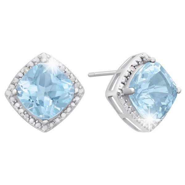 Sterling Silver 3 3/4 TGW Cushion-cut Blue Topaz Diamond Accent Earrings