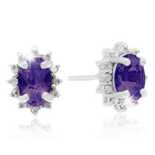 Sterling Silver 1ct Amethyst Diamond Accent Earrings