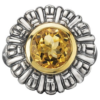 Avanti Palladium Silver and 18k Yellow Gold Citrine Floral Statement Ring
