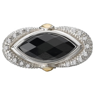 Avanti Palladium Silver and 18k Yellow Gold Marquise-cut Black Onyx Ring
