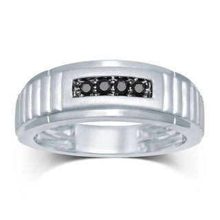 Unending Love Sterling Silver Men's 1/6ct TDW Black Diamond 4-stone Wedding Band