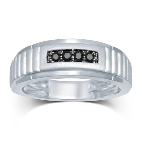 Unending Love Men's Sterling Silver 1/6 ctw Black Diamond 4-stone Wedding Band