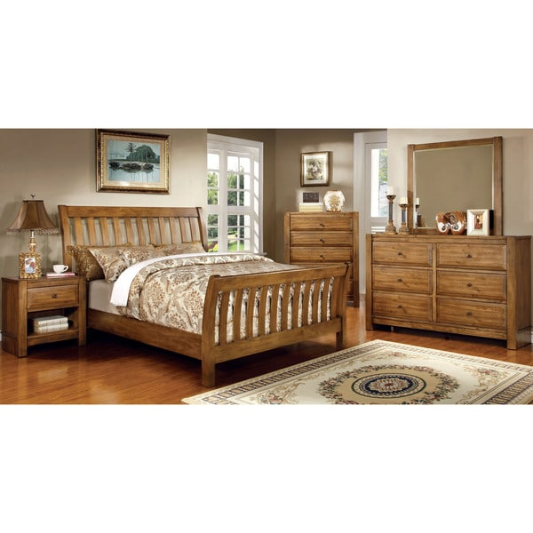 Furniture Of America Stamson Rustic 4 Piece Antique Oak Bedroom Set