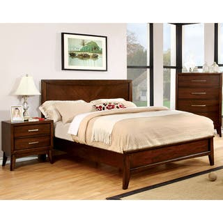 Furniture Of America Kasten Modern 2 Piece Brown Cherry Bedroom Set