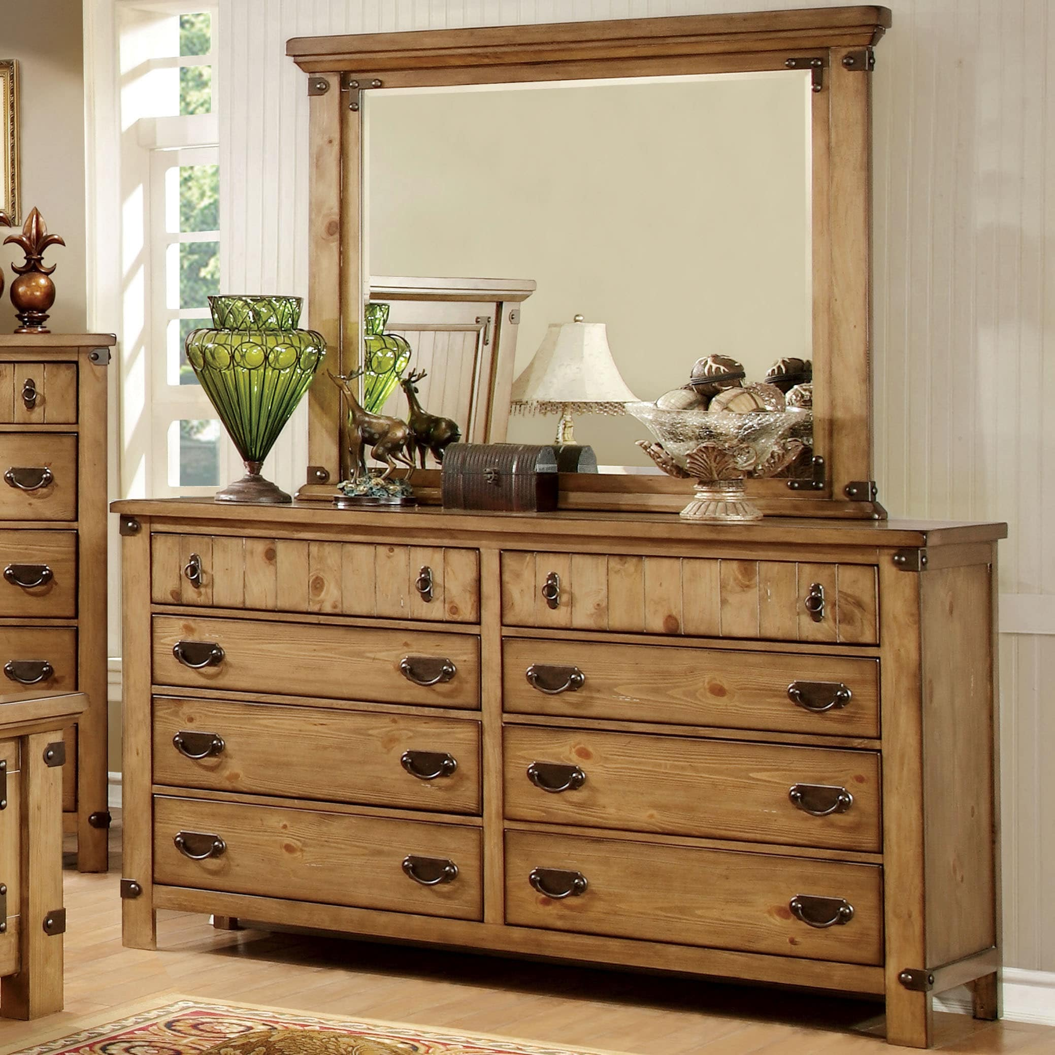 Bon Furniture Of America Sierren Country Style 2 Piece Dresser And Mirror Set