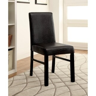 Furniture of America Dymen Brown Crocodile Leatherette Side Chair (Set of 2)