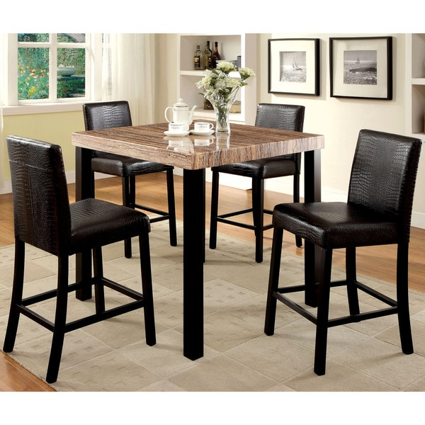 Furniture Of America Dymen Contemporary Black 5 Piece Counter Height Dining  Set