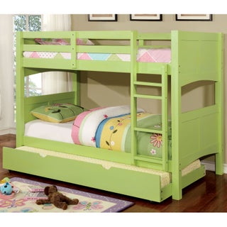 Furniture of America Colorpop Twin Modern 2-piece Bunk Bed with Trundle Set (Option: Twin/Twin - Keylime Green)