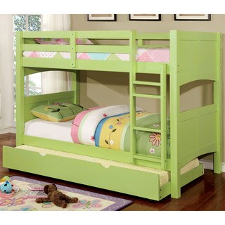 Furniture of America Colorpop Twin Modern 2-piece Bunk Bed with Trundle Set