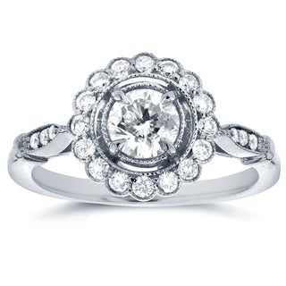 Annello by Kobelli 14k White Gold 3/4ct TDW Floral Antique Diamond Ring