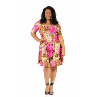 24/7 Comfort Apparel Women's Plus Size Floral Splatter Pattern Dress