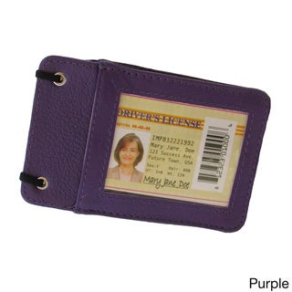 Continental Leather Travelers Neck ID Holder/ Business ID Badge/ Card Holder with Long Adjustable Neck Strap Lanyard