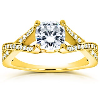 Annello by Kobelli 14k Yellow Gold 1 1/3ct TGW Cushion-cut Moissanite and Diamond Open Shank Crossover Engagement Ring