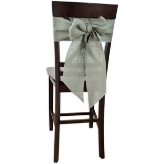 Burlap Aqua Chair Tie with Tapered Ends & Serged Edges (Set of 2)