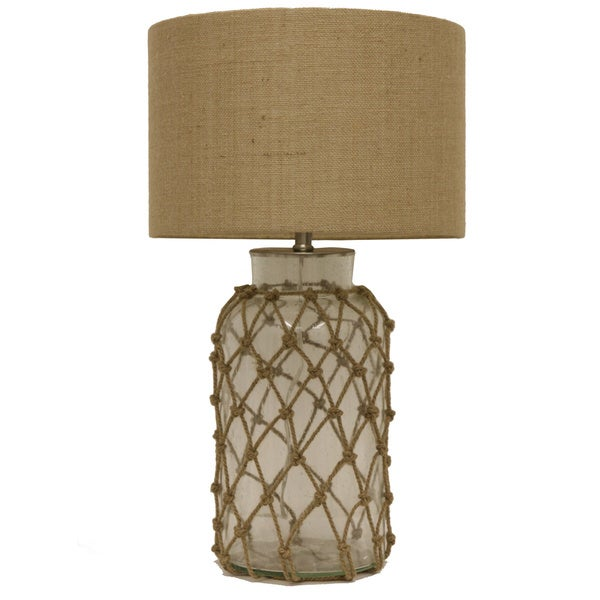 Havenside Home Myrtle Seeded Glass Table Lamp with Rope Net