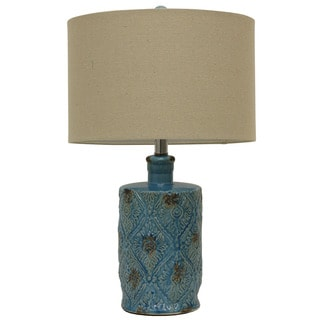 Weathered Glass Embossed Ceramic Table Lamp