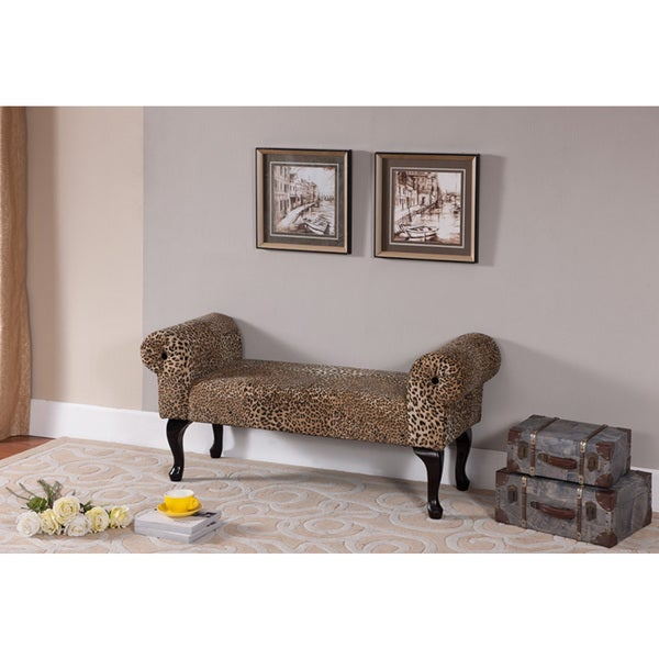 K & B Leopard Print Storage Bench Free Shipping Today