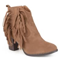 Journee Collection Women's 'Spin' Faux Suede Fringed Booties