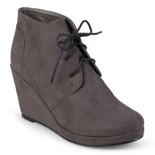 Journee Collection Women's 'Enter' Faux Suede Wedge Booties (More options available)