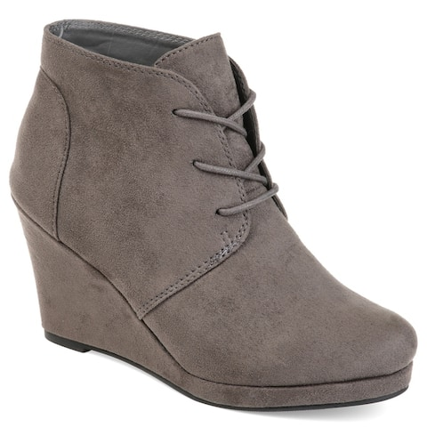Journee Collection Womens Enter Faux Suede Wedge Booties