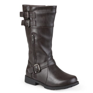 Journee Kid's 'Duo' Round Toe Buckle Boots
