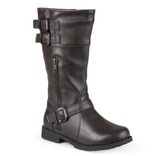 Journee Kid's 'Duo' Round Toe Buckle Boots