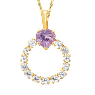 Divina 10k Yellow Gold Heart Amethyst and Topaz Circle Necklace
