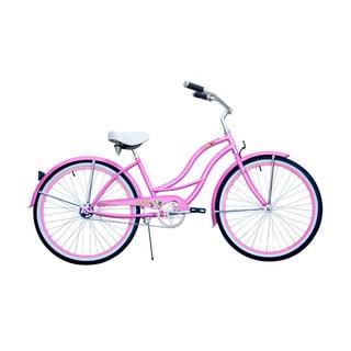 Micargi Tahiti 26-inch Pink with Pink Rim Beach Cruiser