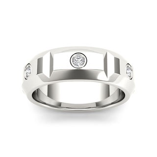 De Couer 14k White Gold 1/4ct TDW Diamond Men's Wedding Band