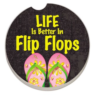 Counterart Absorbent Stone Car Coaster Life Is Better in Flip Flops (Set of 2)