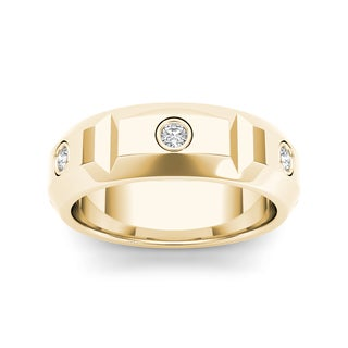 De Couer 14k Yellow Gold 1/4ct TDW Diamond Men's Wedding Band