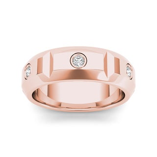 De Couer 14k Rose Gold 1/4ct TDW Diamond Men's Wedding Band (H-I, I2)