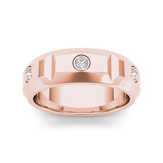 De Couer 14k Rose Gold 1/4ct TDW Diamond Men's Wedding Band