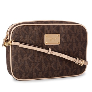 Michael Kors Jet Set Brown Signature Crossbody Handbag