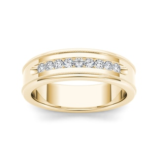 De Couer 14k Yellow Gold 1/3ct TDW Diamond Men's Wedding Band (H-I, I2)