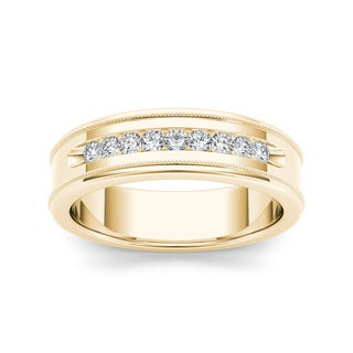 De Couer 14k Yellow Gold 1/3ct TDW Diamond Men's Wedding Band