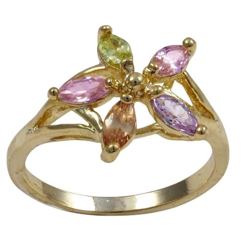 Luxiro Gold Finish Children's Multicolor Crystals Flower Ring - Pink