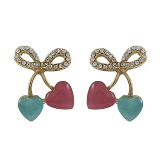 Luxiro Gold Finish Crystals Bow Hearts Girls Earrings