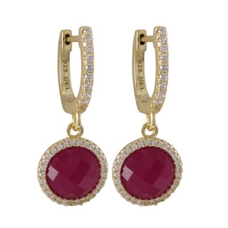 Sterling Silver Gold Finish Gemstone and Cubic Zirconia Circle Dangle Earrings
