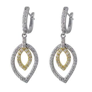 Luxiro Gold Finish Sterling Silver Cubic Zirconia Halo Teardrop Dangle Earrings