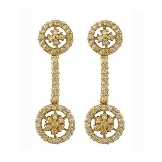Luxiro Gold Finish Sterling Silver Cubic Zirconia Floral Circle Dangle Earrings
