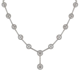 Luxiro Sterling Silver Cubic Zirconia Floral Circle Y Necklace
