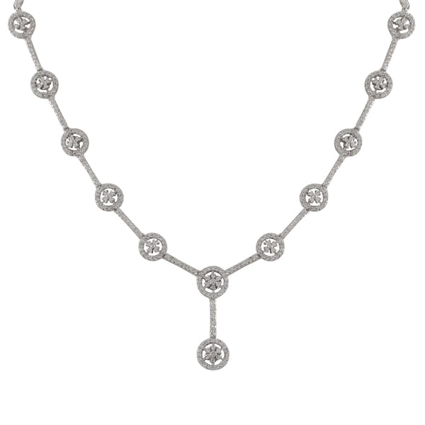 Luxiro Sterling Silver Cubic Zirconia Floral Circle Y Necklace - White