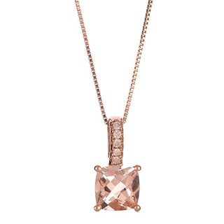 Anika and August 14k Rose Gold Cushion-cut Morganite and Diamond Accent Pendant